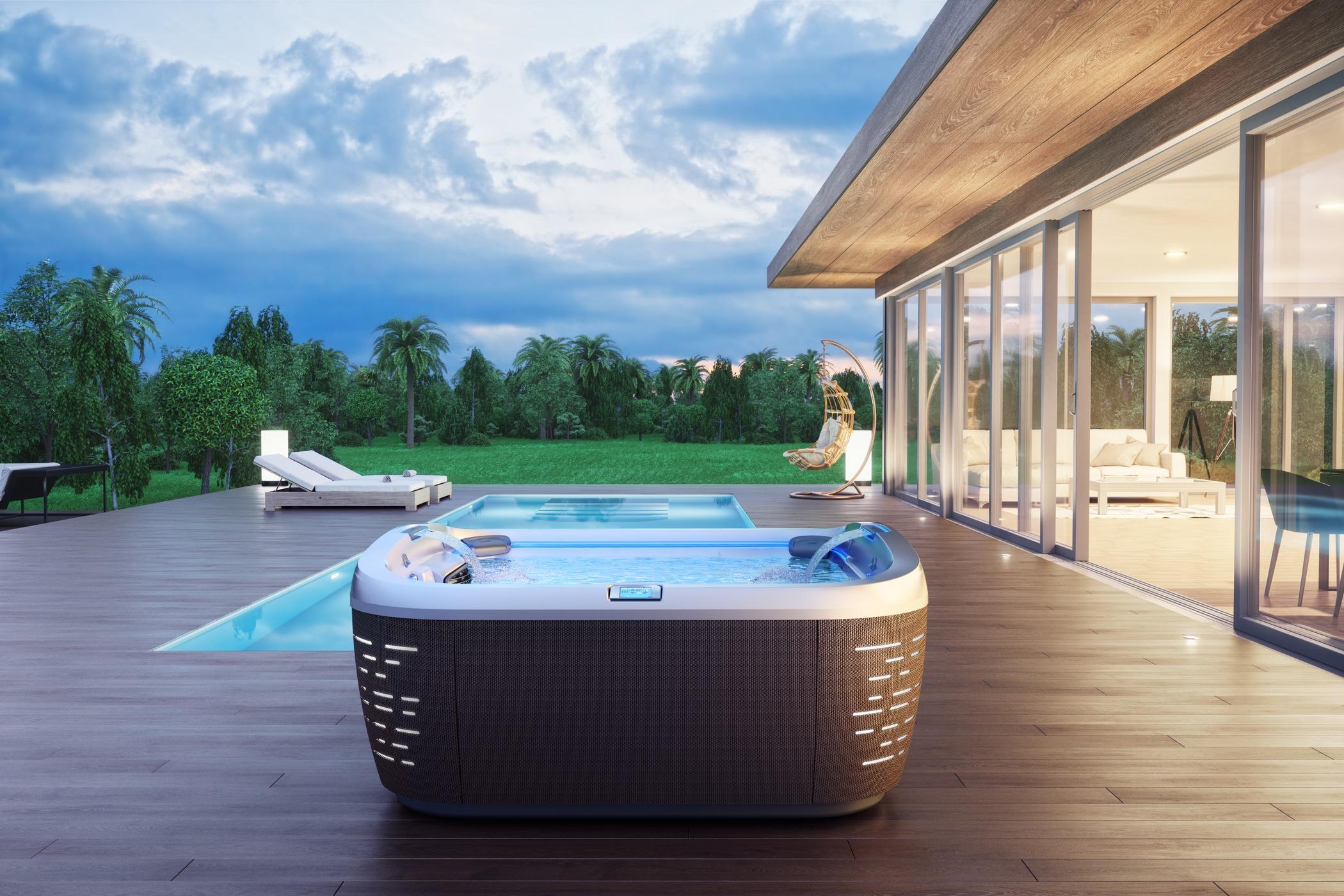 Jacuzzi J-585 Hot Tub Installation in Ocala backard with pool