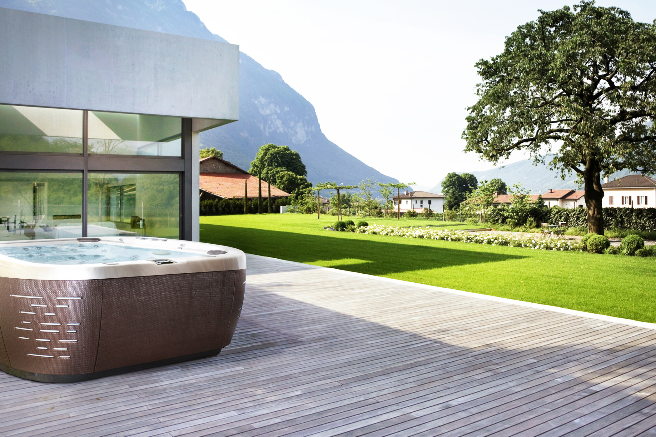 Jacuzzi J-500 Collection Hot Tub Installation with mountain view