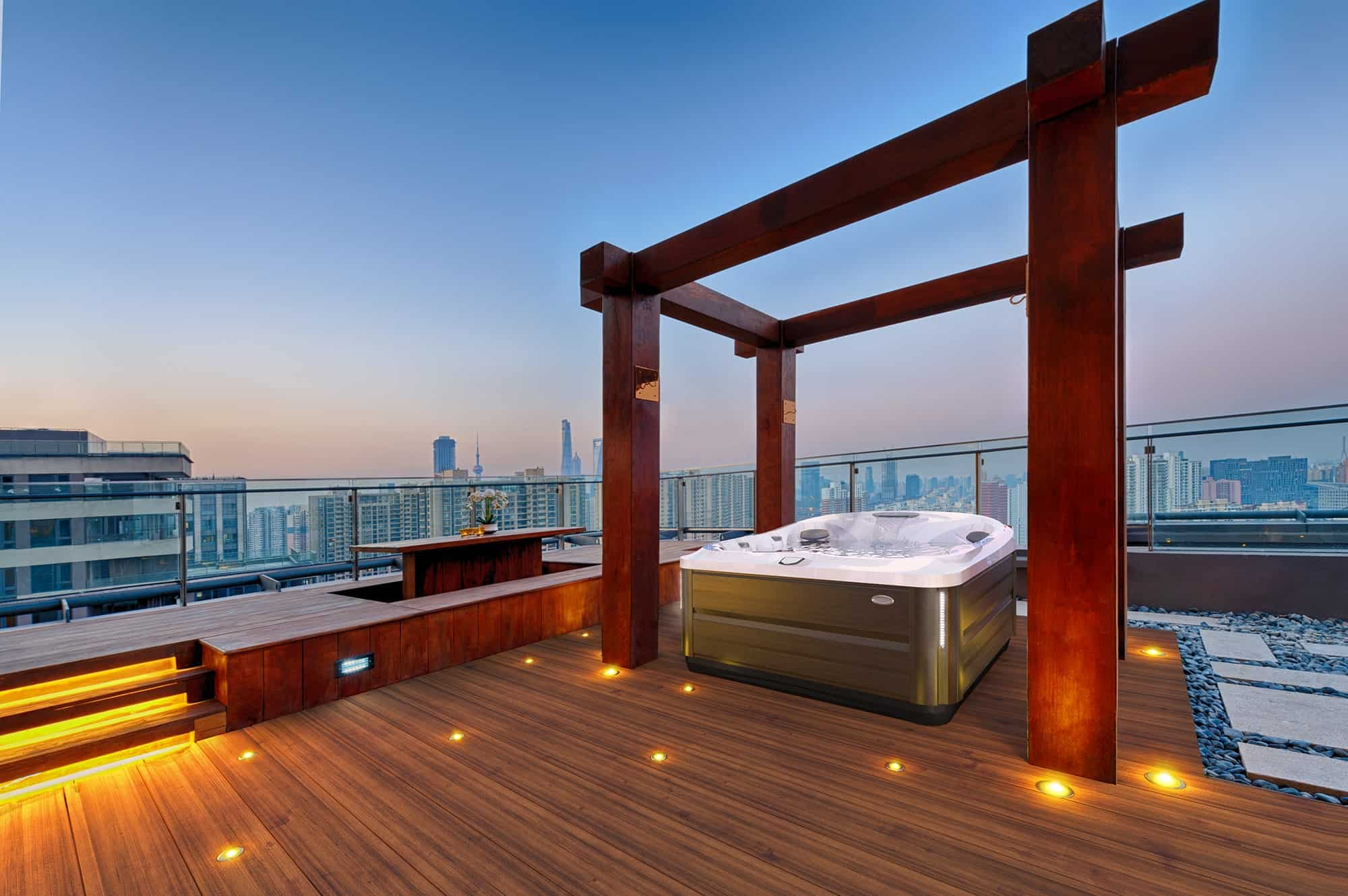 J-445 Jacuzzi Hot Tub installation with city overview