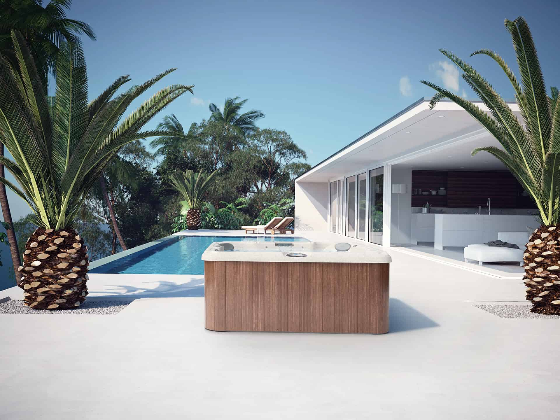 J-235 hot tub with 5 seats and 1 lounge seat backyard installation